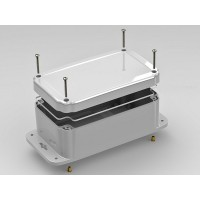 ML Series Polycarbonate Electronic Enclosure, W/Gasket, Flanges, Light Grey 193.80 x 117.60 x 78.49 mm