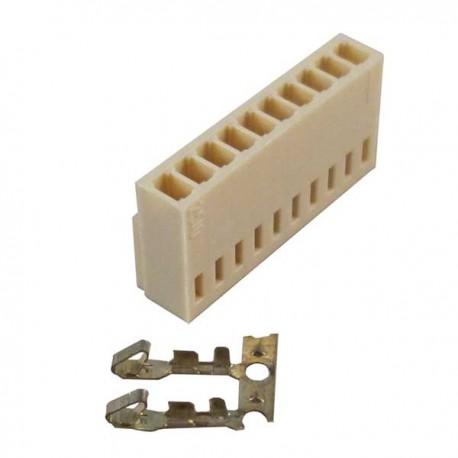 Konektor putih 10 pin female + pin