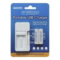 eneloop Portable USB Charger Sanyo (inc 2 pcs eneloop Ni-MH 2000 mAh AA size)