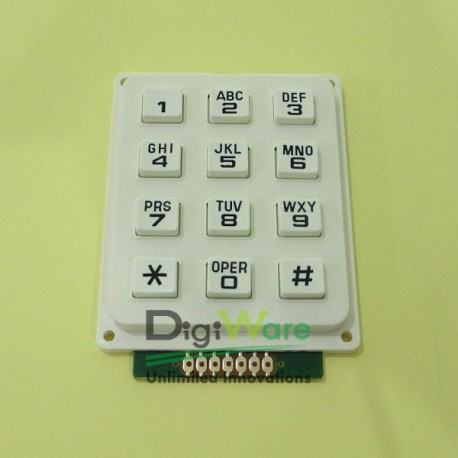 Keypad Rubber Matriks 3x4 Putih (AK304AWWB) - Digiware Store