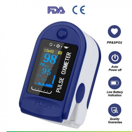 Oxymeter Oximeter Pulse Pengukur Oksigen Darah Detak Jantung Blue