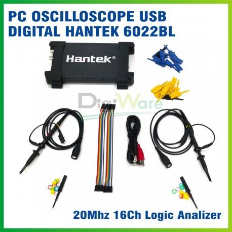 PC USB Oscilloscope 2 Ch Hantek 6022BL Osiloskop Logic Analyzer 16 Ch